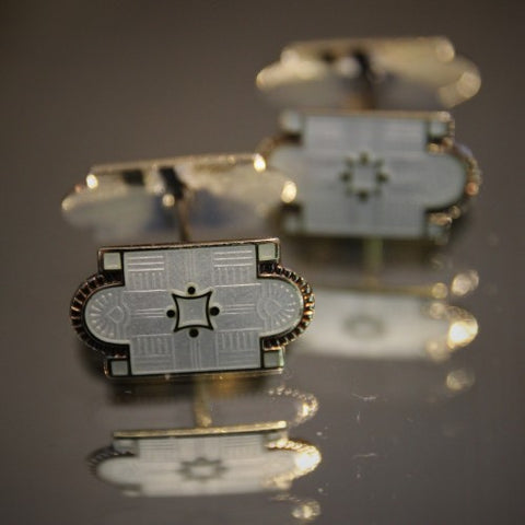 Norwegian Aesthetic Movement Enameled Sterling Cufflinks by Marius Hammer (LEO Design)