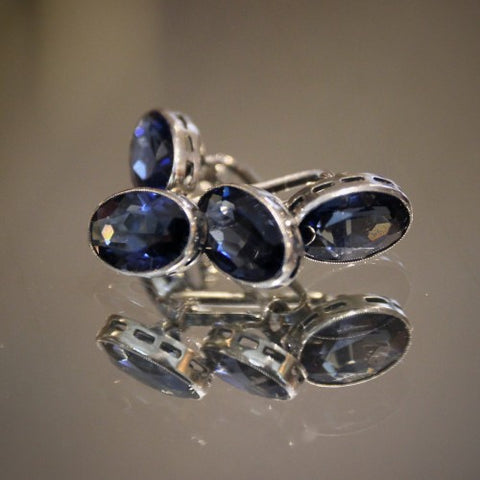 Faceted Sapphire Glass Cufflinks with Silver Settings (LEO Design)