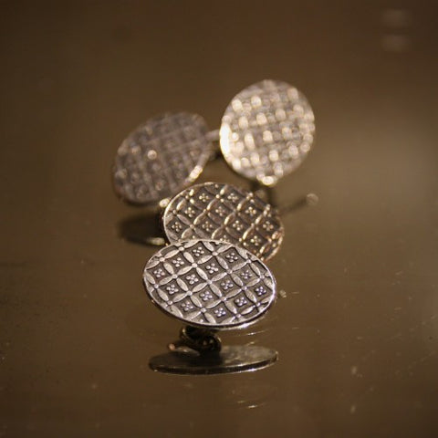 English Coffered Sterling Silver Cufflinks (LEO Design)