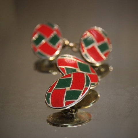 "English Red & Green ""Woven Ribbon"" Cufflinks (LEO Design)"