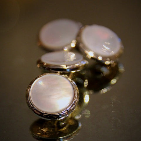 Art Deco Mother-of-Pearl Cufflinks with 10 Karat Gold Fronts (LEO Design)