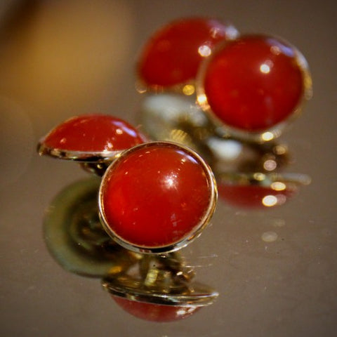 Carnelian Cufflinks with Gold-Plated Settings (LEO Design)
