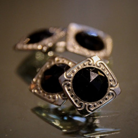 Art Deco Cufflinks with Faceted Onyx Glass Centers (LEO Design)