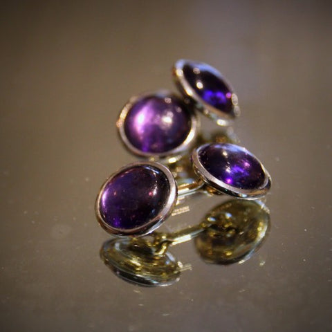 Cufflinks with Amethyst Glass Cabochons (LEO Design)