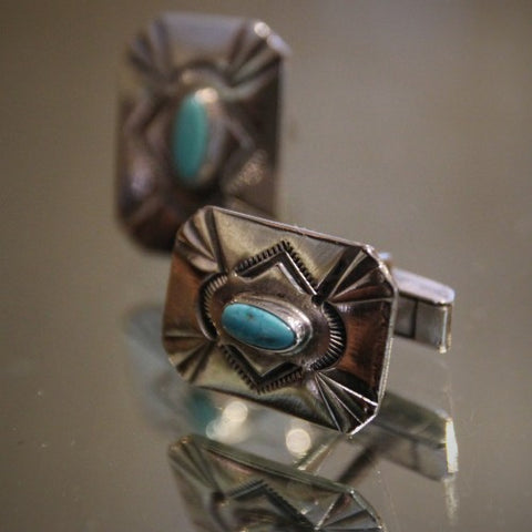 Native American Silver and Turquoise Cufflinks (LEO Design)