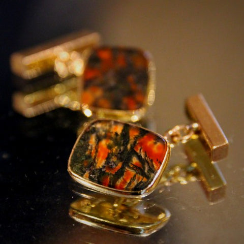English Moss Agate Cufflinks (LEO Design)