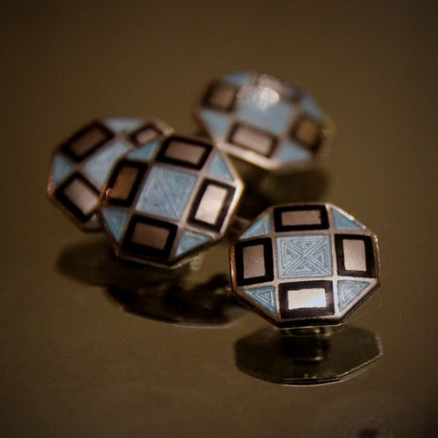 Art Deco Cufflinks with Black and Sky Blue Enameling (LEO Design)