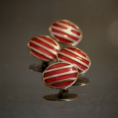 English Art Deco Rugby Striped Red Enameled Cufflinks (LEO Design)