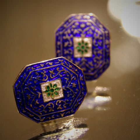Persian (Style?) Cufflinks with Ultramarine and Green Enameling (LEO Design)