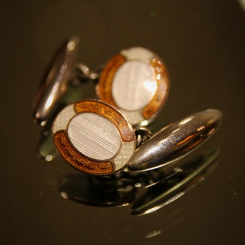 English Thirties Art Deco Cufflinks with White and Amber Enameling (LEO Design)