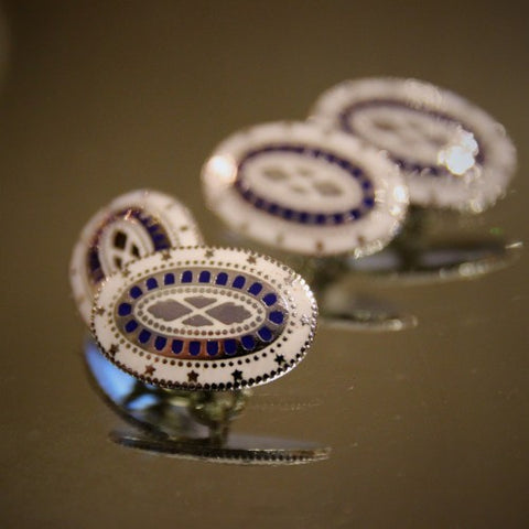 Enameled Silver Cufflinks after George Washington's Buttons (LEO Design)