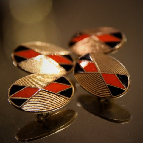 English Art Deco Enameled Harlequin Cufflinks (LEO Design)