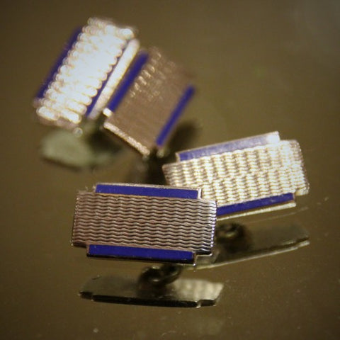 English Art Deco Cufflinks with Machine-Turned Engraving and Royal Blue Enamel (LEO Design)