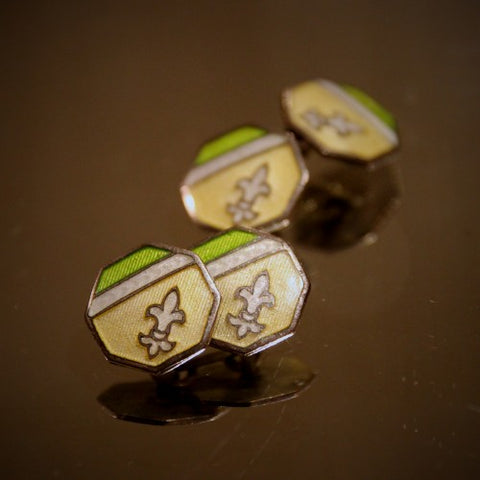 Art Deco Cufflinks with Springtime Fleurs de Lys (LEO Design)