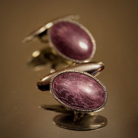 Sterling Silver Cufflinks with Amethyst Enameling over Guilloché Work (LEO Design)