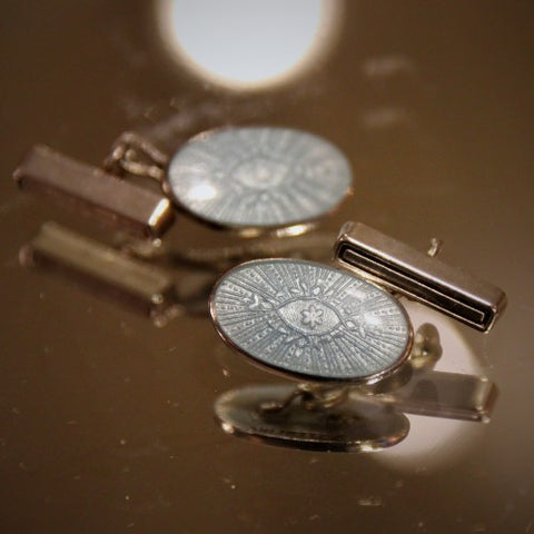 Sterling Silver Cufflinks with Pale Sky Blue Enameling (LEO Design)
