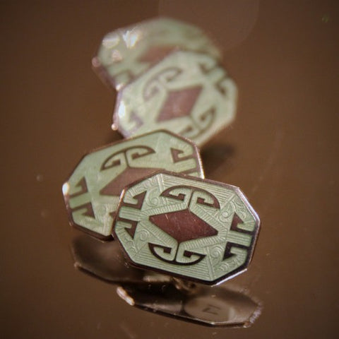 Sterling Silver Art Deco Cufflinks with Soft Pistachio Enameling (LEO Design)