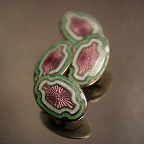 Art Deco Cufflinks with Violet, Pistachio and White Enameling (LEO Design)