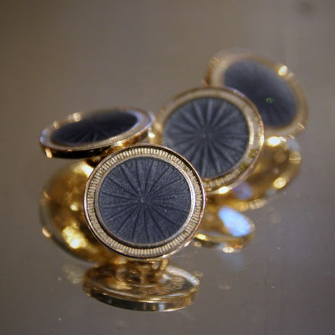 Krementz Gold-Plated Art Deco Cufflinks with Slate Blue Enameling (LEO Design)