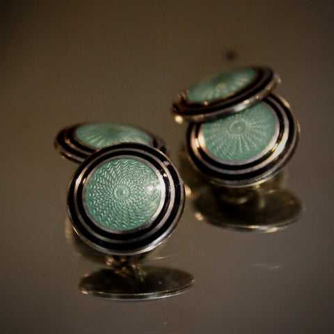 Sterling Silver Art Deco Cufflinks with Black and Celadon Green Enameling (LEO Design)