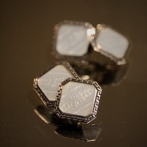 Art Deco Clipped Square Cufflinks with White Enameling (LEO Design)