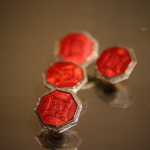Art Deco Cufflinks with Ruby Red Enameling (LEO Design)