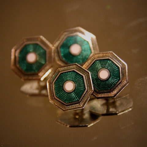 Art Deco Cufflinks with Emerald Green, White and Warm Pewter Enameling (LEO Design)