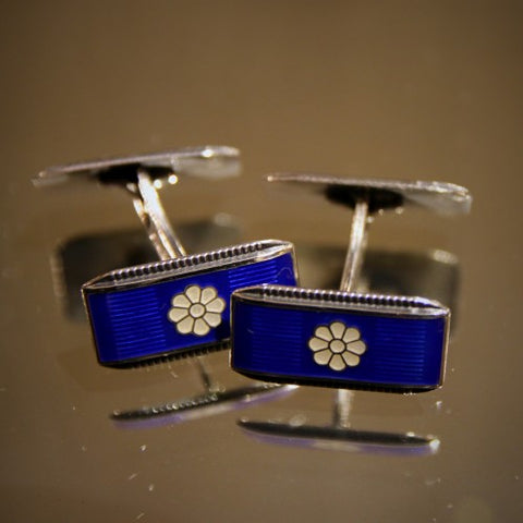 Norwegian Silver Art Deco Cufflinks by Aksel Holmsen with Blue & White Enameling (LEO Design)