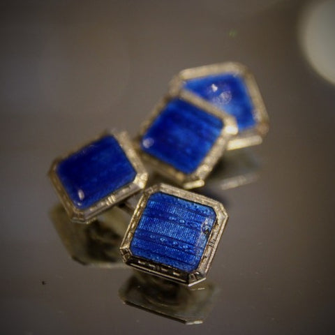 Art Deco Cufflinks with Sapphire Blue Enameling (LEO Design)