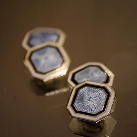 Sterling Silver Art Deco Cufflinks with Black, White and Pale Blue Enameling (LEO Design)