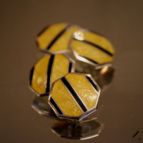 Sterling Silver Art Deco Cufflinks with Scrolling Guilloché and Yellow and Black Enameling (LEO Design)