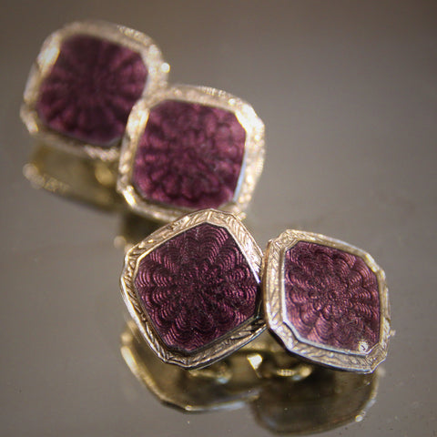 Sterling Silver Art Deco Cufflinks with Amethyst Enameling over Guilloche Work (LEO Design)
