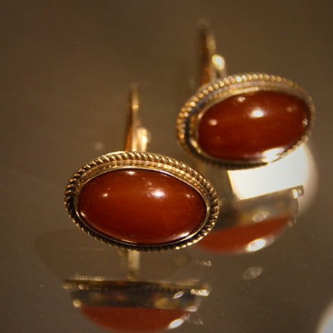 Soviet Cufflinks with Polished Baltic Amber Cabochons (LEO Design)