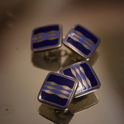 English Art Deco Cufflinks with Waves of Navy and Periwinkle Enameling (LEO Design)