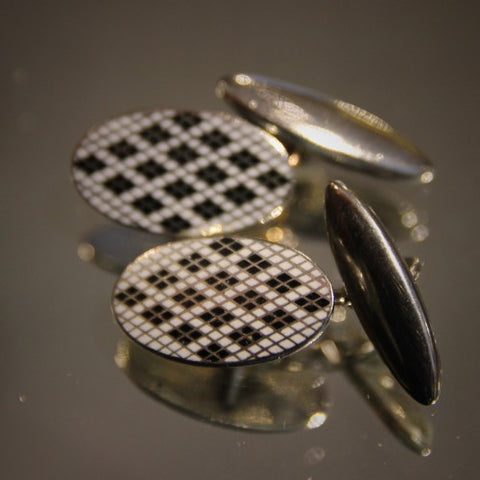 English Art Deco Cufflinks with Black and White Argyle Enameling (LEO Design)