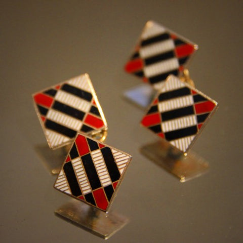 English Art Deco Cufflinks with Black, White and Red Enameling (LEO Design)