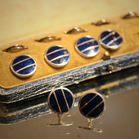 Edwardian English Enameled Blue Shirt Buttons (LEO Design)