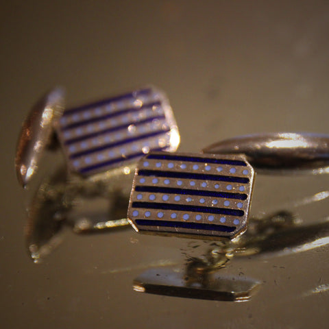 English Art Deco Cufflinks with Enameled Navy Blue Bands and Sky Blue Dots (LEO Design)