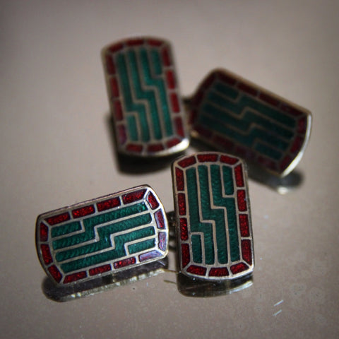 English Art Deco Cufflinks with Ruby and Emerald Enameling (LEO Design)
