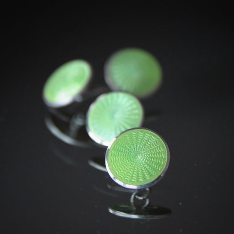 Sterling Silver Art Deco Cufflinks with Machine-Turned Guilloché and Spring Green Enameling (LEO Design)