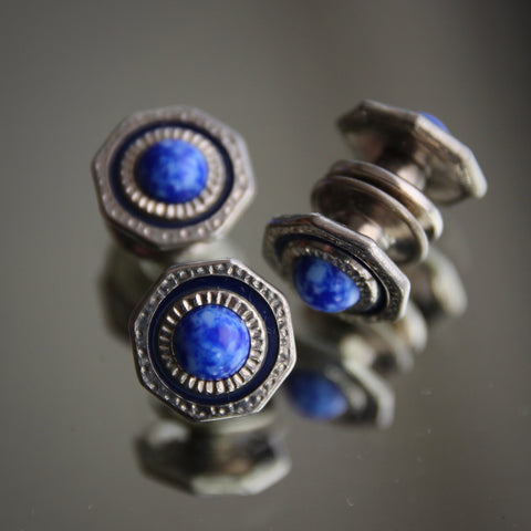 Art Deco Snapping Cufflinks with Glass Lapis Cabochons (LEO Design)