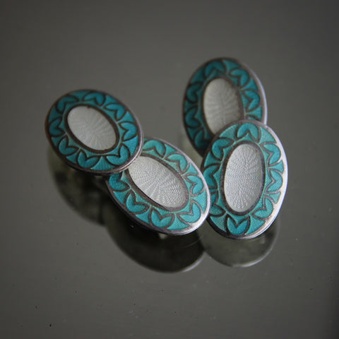 American Art Nouveau Sterling Silver Cufflinks with Turquoise & White Enameling and Hearts Border (LEO Design)