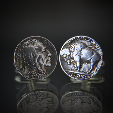 Indian Head & Buffalo Nickel Cufflinks by James Earle Frasier (LEO Design)