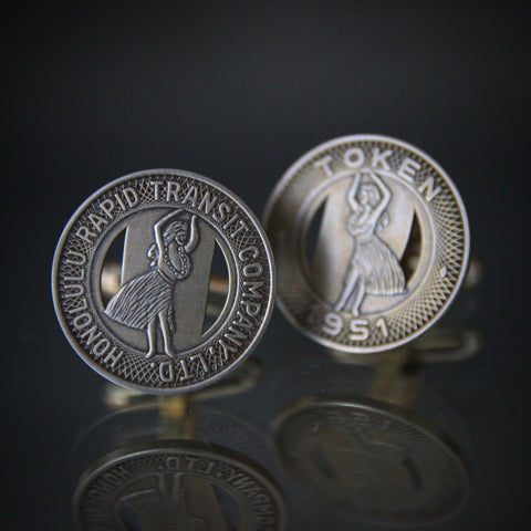 Cufflinks of Vintage Honolulu Transit Tokens with Sterling Silver Mountings (LEO Design)
