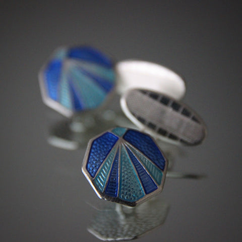 English Sterling Silver Art Deco Style Cufflinks with Aqua and Sapphire Blue Enameling (LEO Design)