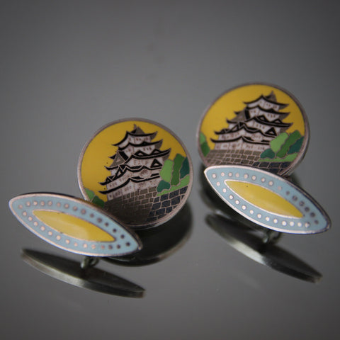 Silver Cufflinks Featuring Enameled Matsumoto Castle (LEO Design)