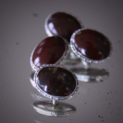Scottish Cufflinks with Polished Hardstone Cabochons in Beaded Sterling Silver Settings (LEO Design)