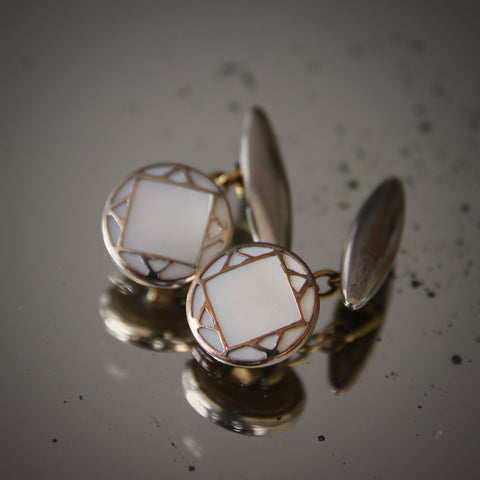 English Art Deco Mother-of-Pearl Cufflinks with Gilt Tracery (LEO Design)
