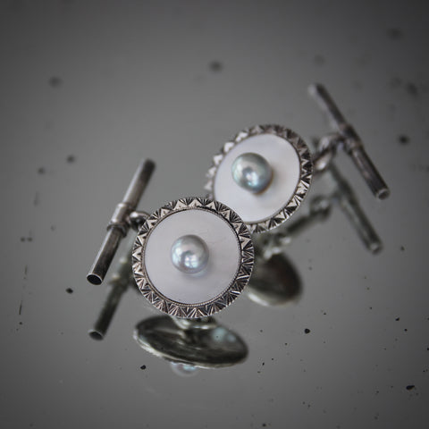 Art Deco Sterling Silver Cufflinks with Mother-of-Pearl and Pearl Centers (LEO Design)
