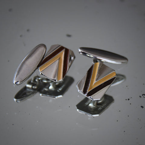 """English Art Deco Chromed """"Victory"""" Cufflinks with Chocolate and Cappuccino Enameling (LEO Design)"""